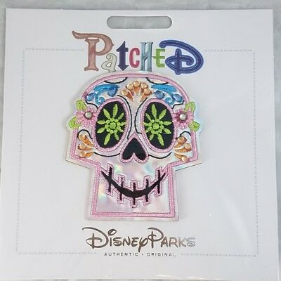 Disney Parks Patched Coco Calavera Sugar Skull Adhesive Patch Pink Jeweled - NEW