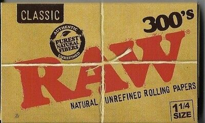 1 PACK RAW 300s CLASSIC CIGARETTE ROLLING PAPER 1.25 (1¼) NATURAL UNREFINED