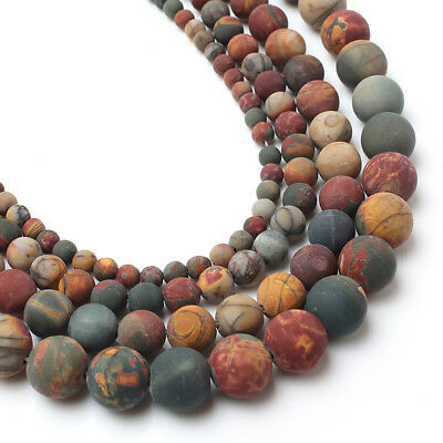 4 6 8 10mm Natural Stone Round Matte Picasso Jasper Loose Beads For Jewelry Make