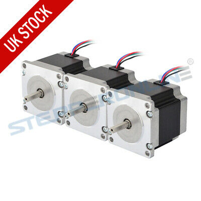 3PCS Nema 23 Stepper Motor 1.26Nm 2.8A 4-wire 6.35mm Shaft CNC Mill Lathe Router