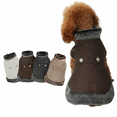 Pet Dog Winter Warm Coat Jacket Puppy Fur Collar Woollen Costumes Apparels Cloth