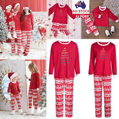Christmas Red Striped Pajamas Family Matching Pyjamas Xmas Party Sleepwear Pjs