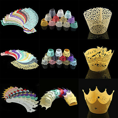 10/120x Baby Showers Party Supply Cupcake Wrapper Cake Wraps Case Christening