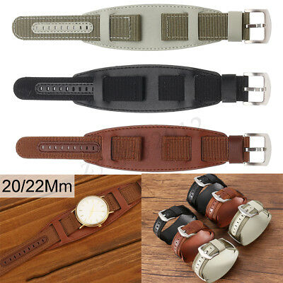 Green/Brown/Black Nylon&Leather Mens Army Watch Band Strap Cuff Bangle 20/22mm