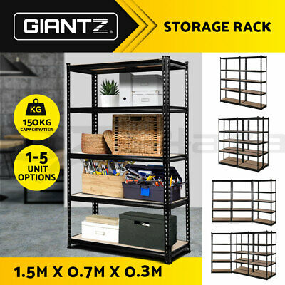 x1/2/3/4/5 0.7M Steel Warehouse Racking Rack Storage Garage Shelves Shelving