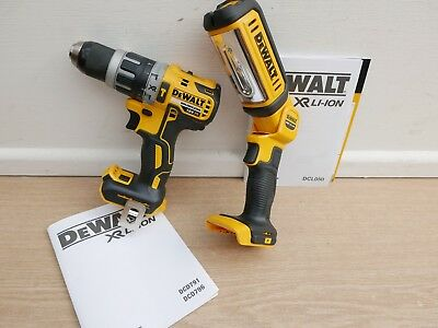 Dewalt Dcd796 18V Xr Brushless Hammer Drill Bare Unit + Dcl050 Worklight