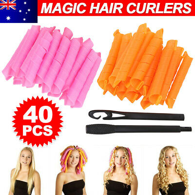 AU 40pcs 50cm Magic Hair Curlers Curl Formers Spiral Ringlets Leverage Rollers