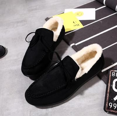Mens Casual Cotton Winter Warm Shoes Wool Fur Inside Lace Up Loafers Flats Shoes