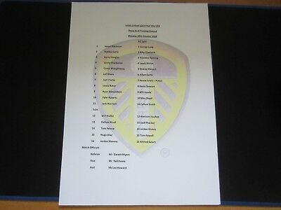 2018/19 U23 LEEDS UNITED v HULL CITY TEAM SHEET