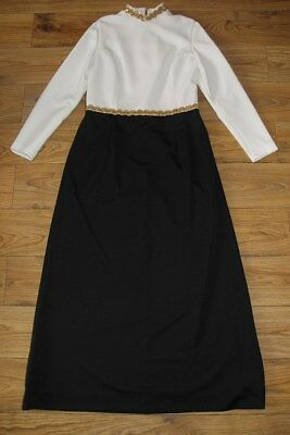 vintage 60s Black White Gold detail Michael Howard dress size 12-14