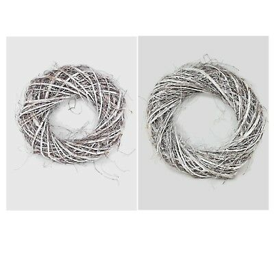 Willow Risor Wreath Ring - Frosted - 40cm or 30cm Scandi Christmas Natural Twig