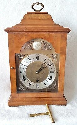 Mantel Clock English Elliott Double Chime In Walnut With Manual & Auto Silent