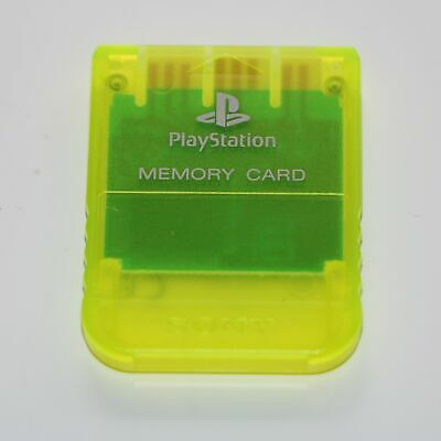 Official Sony 1Mb Memory Card Ps1 Psone Playstation - Transparent Clear Yellow