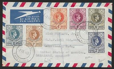 Swaziland KGVI to 1sh on registered cover to USA
