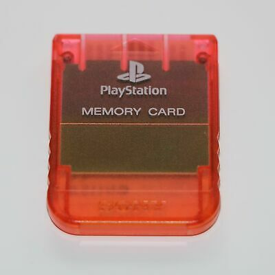 Official Sony 1Mb Memory Card Ps1 Psone Playstation Transparent Clear Cherry Red