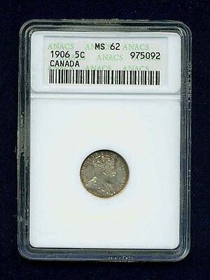 Canada  Edward Vii 1906 5 Cents Silver Coin, Anacs Certified Uncirculated Ms-62