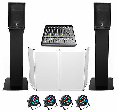 "DJ Package w/(2) JBL JRX212 2000w 12"" Speakers+Mixer+Totem Style Stands+Facade"