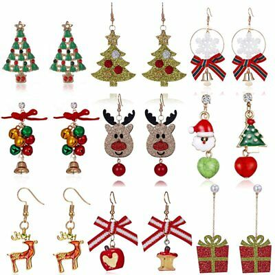 Christmas Tree Bell Deer Snowman Earrings Ear Stud Hook Xmas Party Women Jewlery