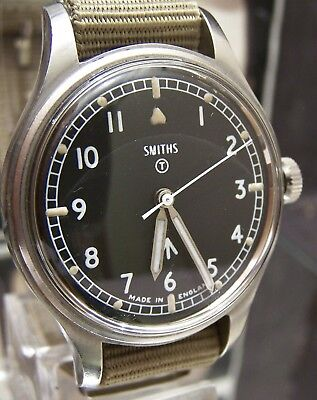 Antique Vintage 1969 Smiths W10 Military Army Black Dial Watch Fully Serviced