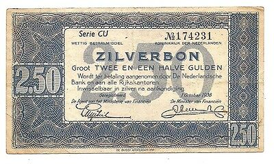 1 Oct 1938 Netherlands 2.50 Gulden Zilverbon Note--No Pin Holes nor Tears  !!