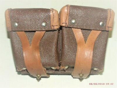 US MILITARY Vintage 1950's Korean War Ammo Belt Double Pouch Leather