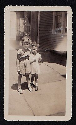 Vintage Antique Photograph Two Adorable Children Standing on the Sidewalk