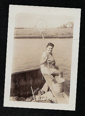 Vintage Antique Photograph Woman w/ Fishing Net & Pail Sitting By Water