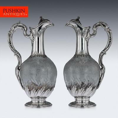 ANTIQUE 19thC FRENCH SOLID SILVER & GLASS PAIR OF CLARET JUGS c.1890