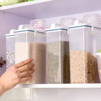 Cereal Storage Dispenser Box with Lid Dry Food Rice Pasta Container Kitchen