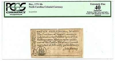 C10564- 1771 10 Shillings North Carolina Colonial Currency Pcgs Xf40
