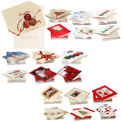 72ct Holiday Cards & Envelopes Christmas Greetings Bulk Boxed Sets Glitter Foil