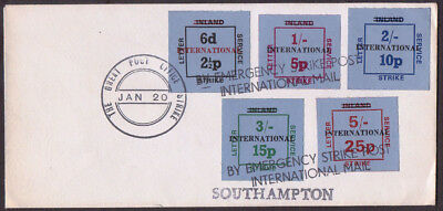 The Great Post Office Strike Inland stamps overprinted International used cover