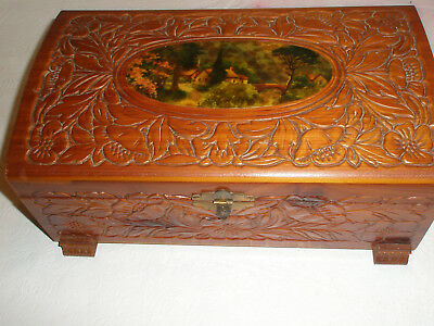 Vintage Wooden Jewelry or Trinket Box Mirror Carved Decoupage