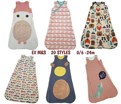 Baby Sleeping Bag Girls Boys 1.8 Tog Cotton Growbag Sleep Safety Blanket EX M+S