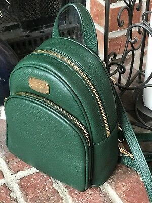 73ba6b58fdf2c NWT MICHAEL KORS Abbey XS Mini Backpack Crossbody MK Green Leather ...