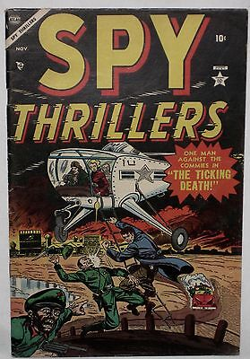 """Golden Age ~ SPY THRILLERS #1 Helicopter, Bomb, Commies, """"The Ticking Death!"""" FN"""