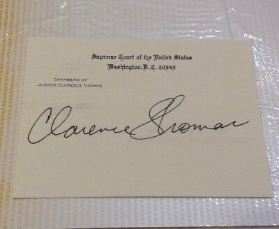Autographed Clarence Thomas Supreme Court Judge Embossed Chamber Card