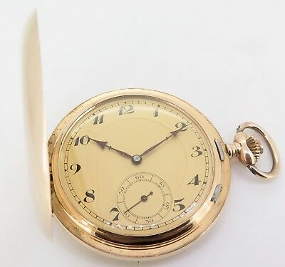 .Outstanding C.1900s French Levrette 14K Gold High Grade Men's 52mm Pocket Watch