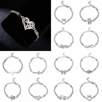 Men Women Charm Infinity Love Heart Stainless Steel Adjustable Chain Bracelet