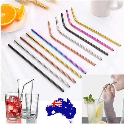 20Pcs Premium Stainless Steel Metal Drinking Straw Straws Straight Bent Reusable