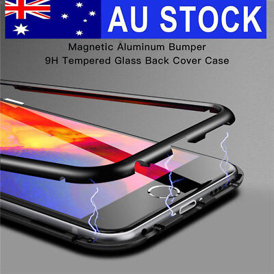 360° Magnetic Metal Frame Tempered Glass Phone Case Cover for iPhone XS MAX 7 8