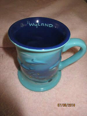 Wyland Raised Dolphin / Ocean Coffee Mug / Cup - Unique, Embossed,5 Inch
