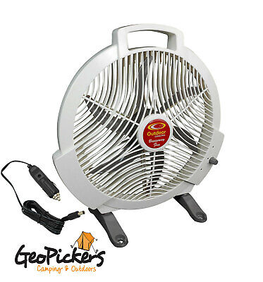 """Outdoor Connection Camping Fan 12V High Volume Airflow 3 Speeds 12"""" Blades"""