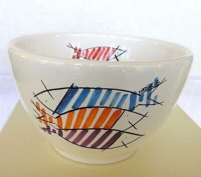 "Henriot Quimper Parisian Bowl ""Happy Fish"" White France Porcelain"