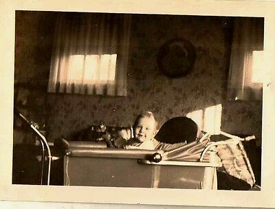 Old Antique Vintage Photograph Adorable Little Baby in Carriage