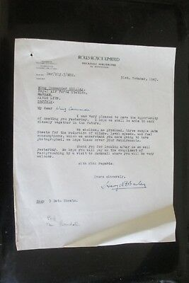 1947 and 1948 and 1949 ROLLS ROYCE LIMITED LETTERS TO THE RAF  AVIATION
