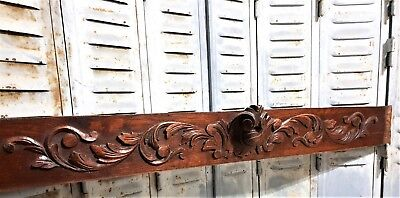 Architectural gothic scroll leaves pediment Antique french wooden panel trim