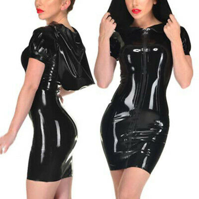 Damen PVC Leder Kleid Bodycon Romper Clubwear Minikleid Cocktail Abend Party
