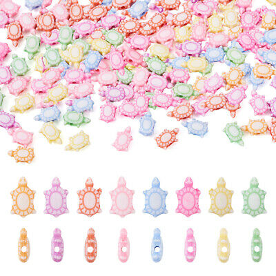 100 pcs Craft Style Colorful Acrylic Tortoise Beads Craft Mixed Color 10x6x4.5mm