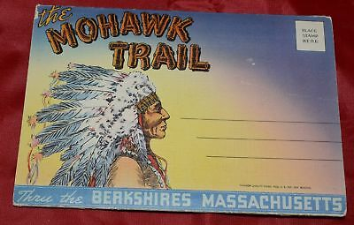 Berkshires Massachusetts Mowhawk Trail Linen Souvenir Folding Postcard Tichnor Q